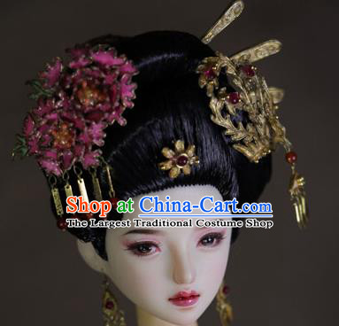 Chinese Ancient Tang Dynasty Imperial Consort Hairpins Headwear Traditional Palace Hair Accessories for Women
