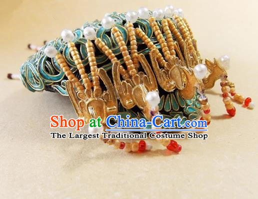 Chinese Ancient Palace Queen Golden Phoenix Headwear Traditional Qing Dynasty Manchu Empress Hair Accessories for Women