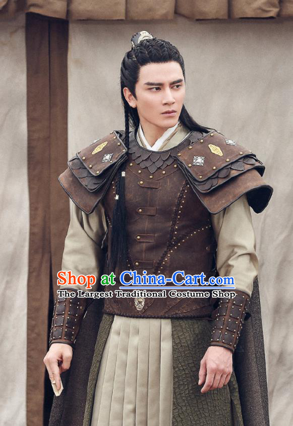 Traditional Chinese Ancient Drama General Armour Northern and Southern Dynasties Historical Costume for Men