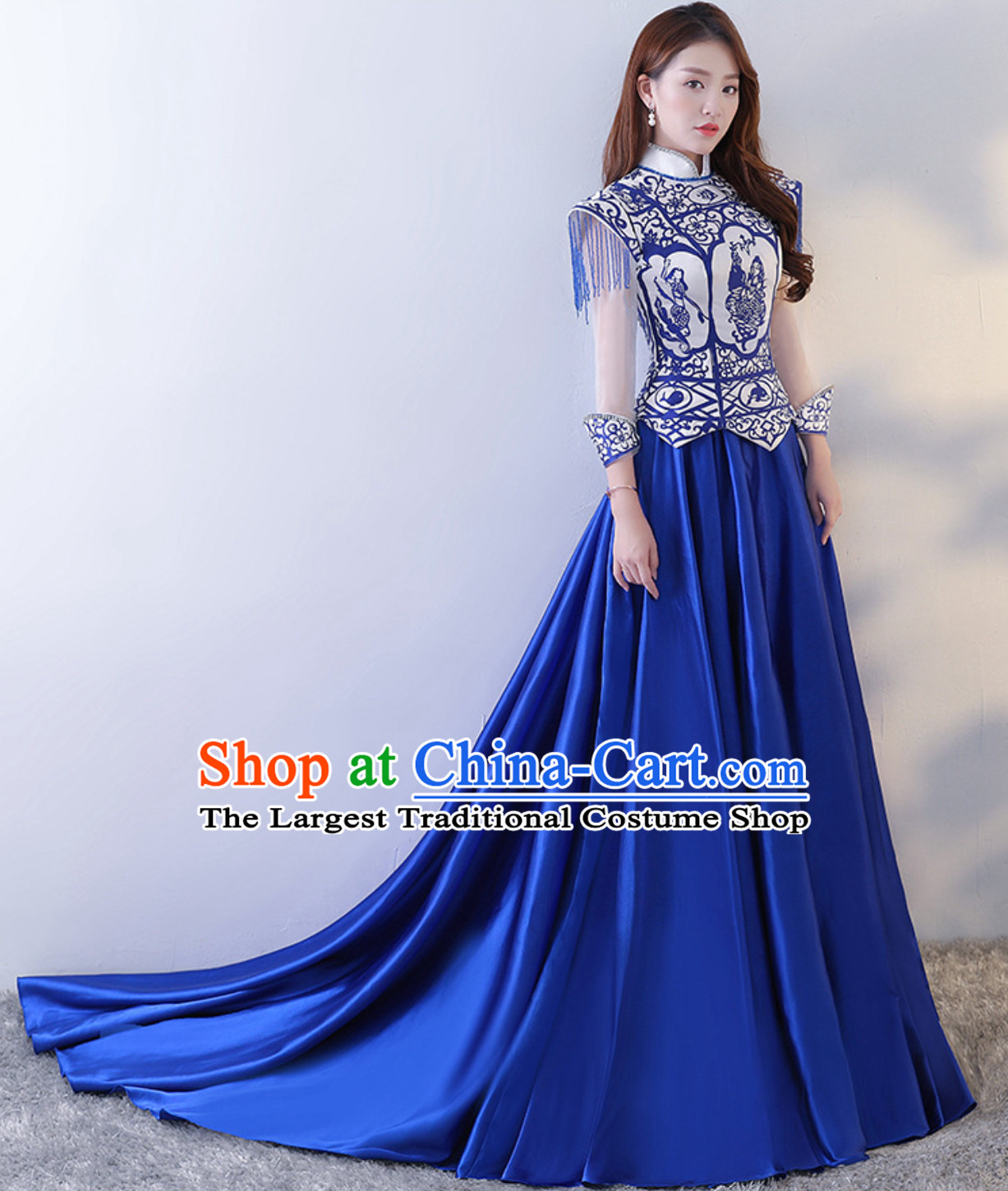 Blue White Royal Beautiful Big Event Evening Dress