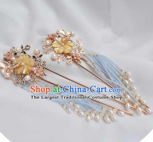 Chinese Ancient Princess Palace Yellow Shell Pearls Tassel Hairpins Traditional Handmade Hanfu Hair Accessories for Women