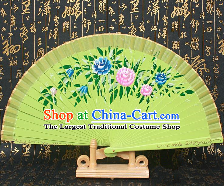 Chinese Handmade Classical Folding Fans Printing Flowers Wood Green Silk Accordion Fan for Women