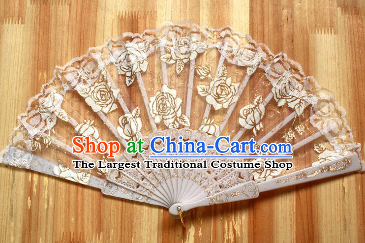 Chinese Handmade Folk Dance White Lace Rose Folding Fans Classical Accordion Fan for Women