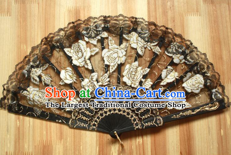 Chinese Handmade Folk Dance Black Lace Rose Folding Fans Classical Accordion Fan for Women