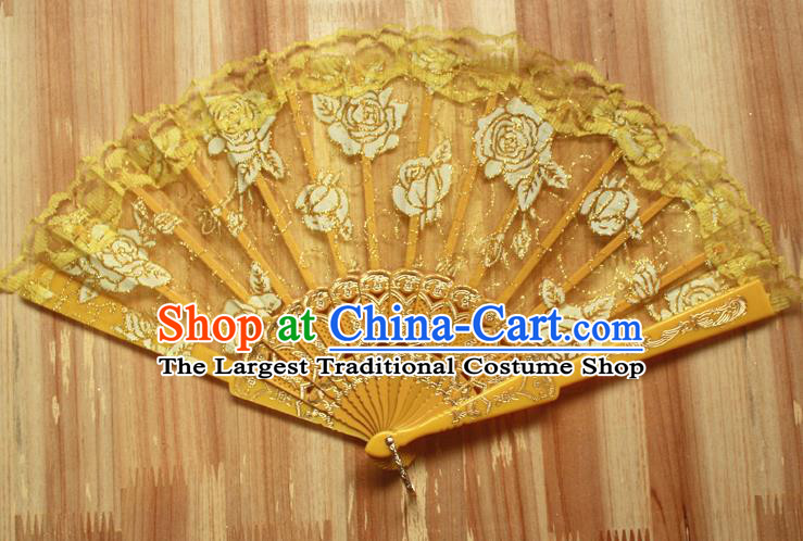 Chinese Handmade Folk Dance Yellow Lace Rose Folding Fans Classical Accordion Fan for Women