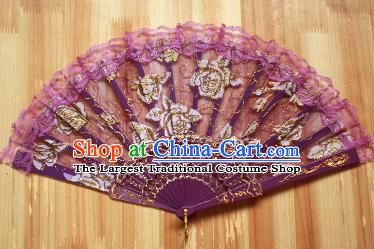 Chinese Handmade Folk Dance Purple Lace Rose Folding Fans Classical Accordion Fan for Women