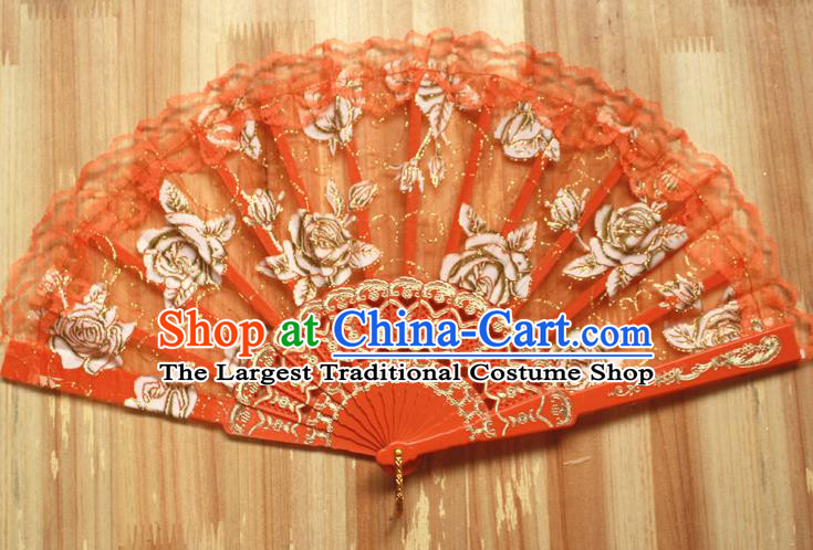 Chinese Handmade Folk Dance Orange Lace Rose Folding Fans Classical Accordion Fan for Women