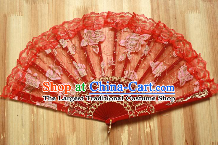 Chinese Handmade Folk Dance Red Lace Rose Folding Fans Classical Accordion Fan for Women
