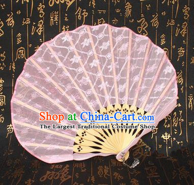 Chinese Handmade Classical Folding Fans Folk Dance Pink Lace Accordion Fan for Women