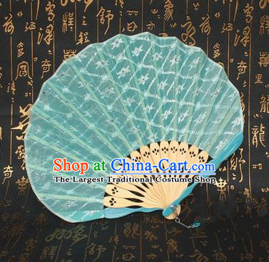Chinese Handmade Classical Folding Fans Folk Dance Green Lace Accordion Fan for Women