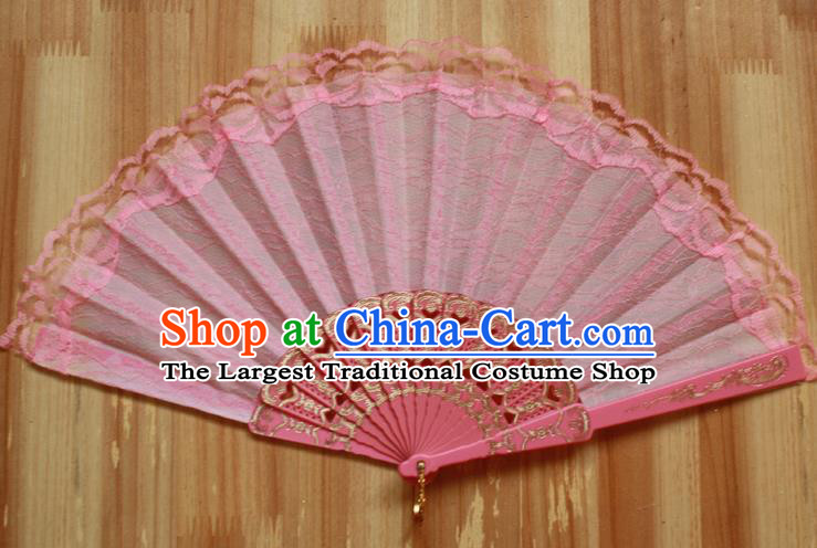 Chinese Handmade Classical Light Pink Lace Folding Fans Folk Dance Accordion Fan for Women