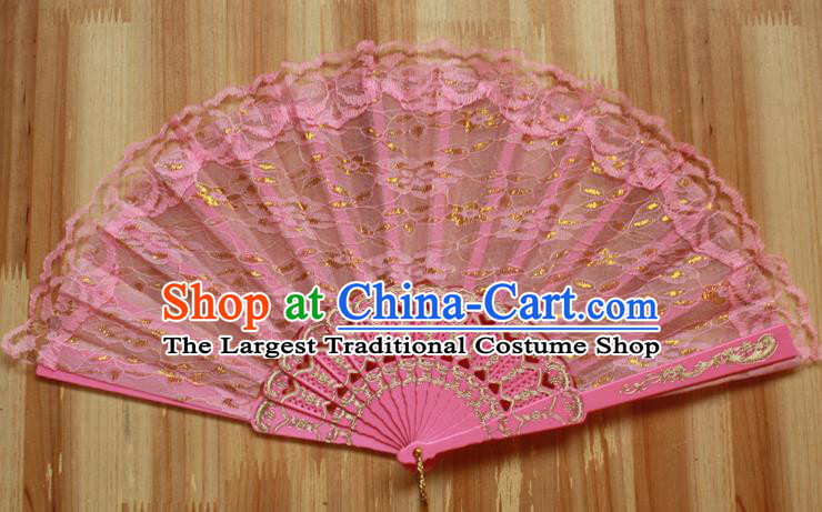 Chinese Handmade Classical Pink Lace Folding Fans Folk Dance Accordion Fan for Women