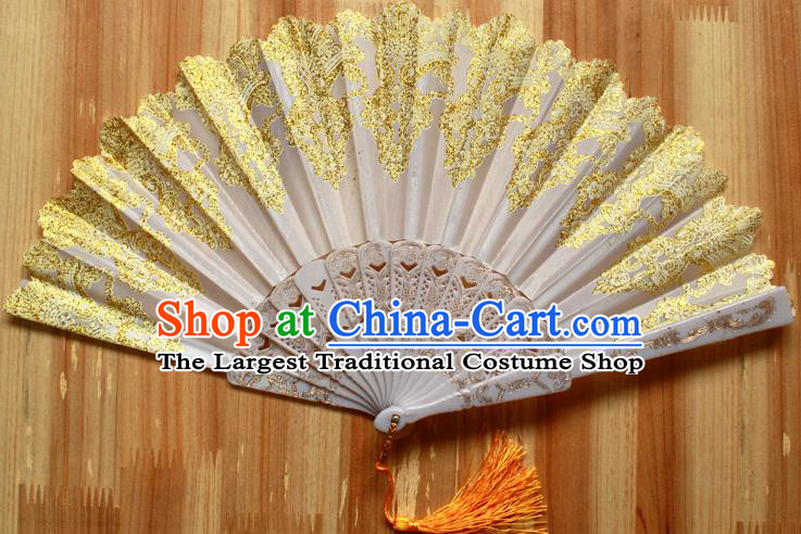 Chinese Handmade Classical Golden Folding Fans Folk Dance Accordion Fan for Women
