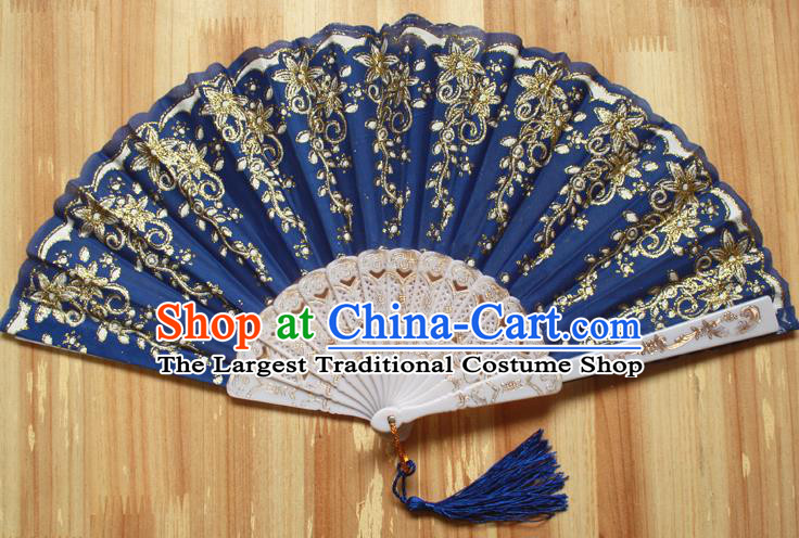 Chinese Handmade Classical Navy Folding Fans Folk Dance Accordion Fan for Women