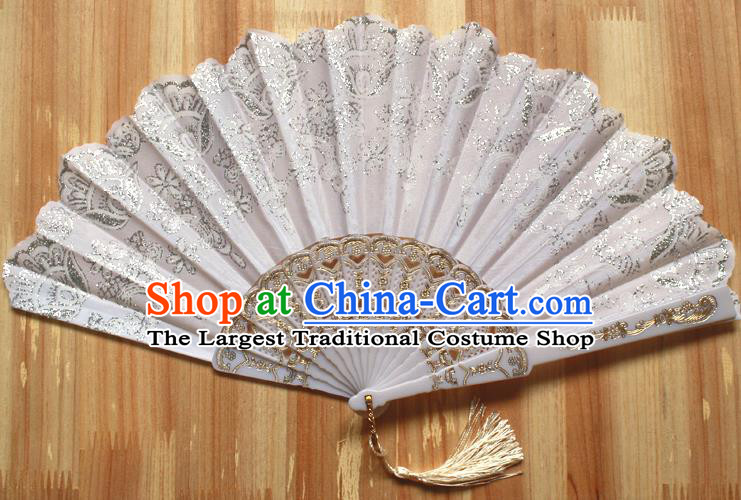 Chinese Handmade Classical White Folding Fans Folk Dance Accordion Fan for Women