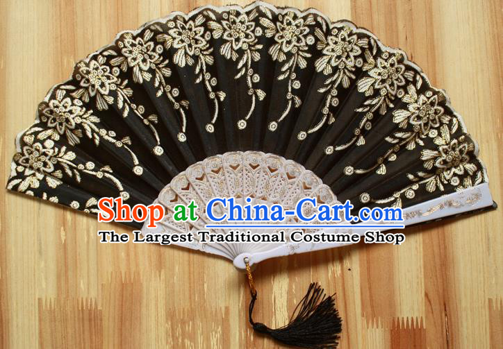 Chinese Handmade Classical Black Folding Fans Folk Dance Accordion Fan for Women