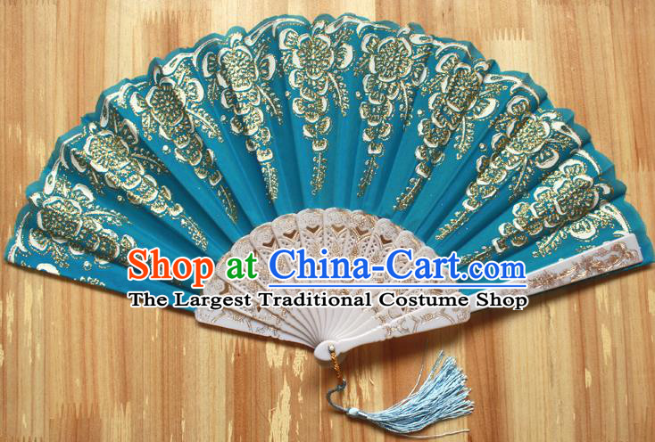 Chinese Handmade Classical Lake Blue Folding Fans Folk Dance Accordion Fan for Women