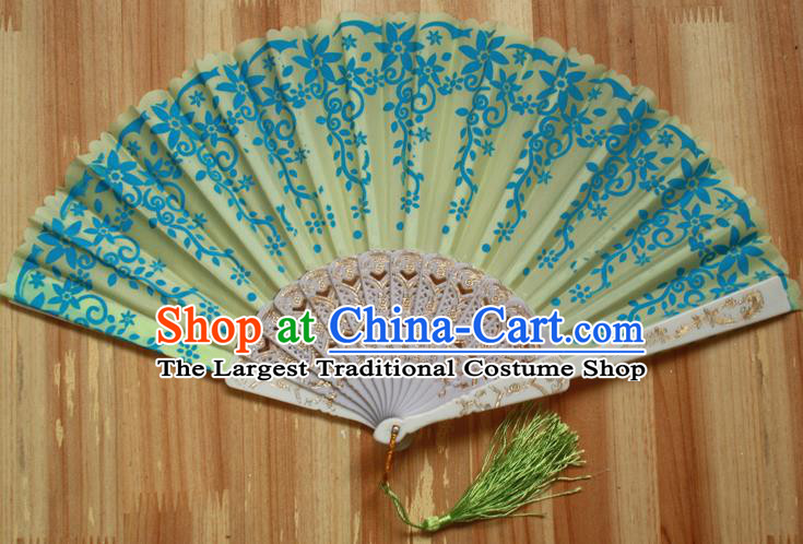 Chinese Handmade Folk Dance Yellow Folding Fans Classical Accordion Fan for Women