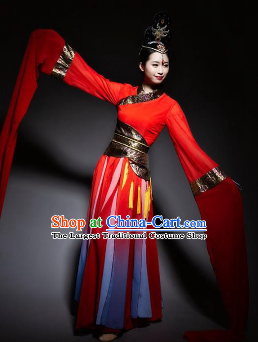 7c4a469a0bf2 Chinese Classical Dance Red Dress Traditional Dunhuang Flying Apsaras Stage  Performance Costume For Women