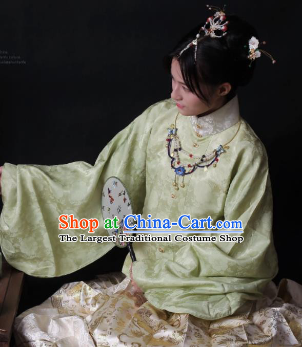 Traditional Chinese Ming Dynasty Palace Historical Costume Ancient Princess Embroidered Blouse and Skirt for Women