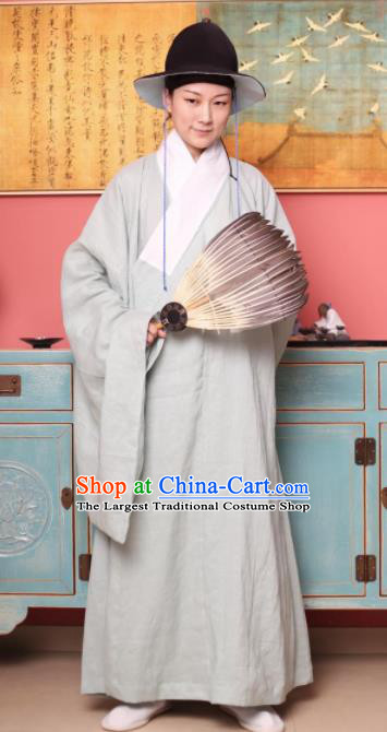 Traditional Chinese Ming Dynasty Historical Costume Ancient Taoist Priest Beige Robe for Men