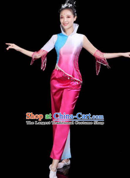 Traditional Chinese Yangko Group Dance Folk Dance Rosy Clothing Fan Dance Stage Performance Costume for Women