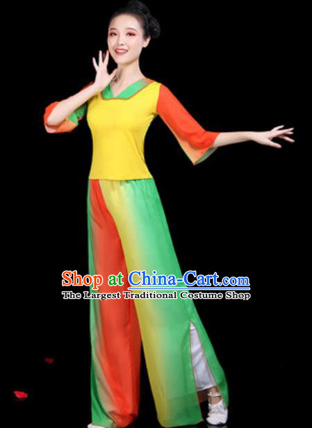 Traditional Chinese Yangko Group Dance Folk Dance Yellow Clothing Fan Dance Stage Performance Costume for Women
