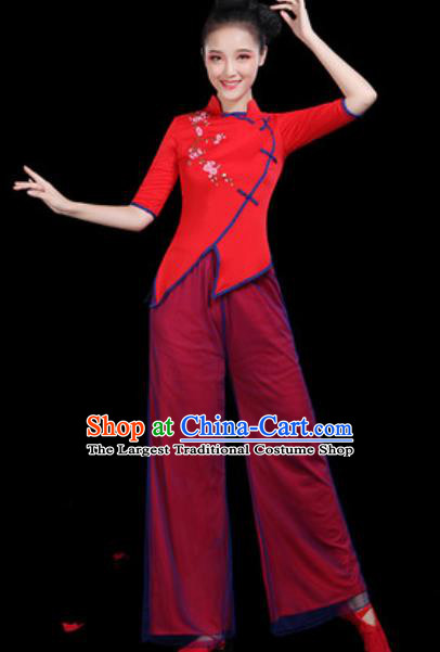 Traditional Chinese Yangko Group Dance Folk Dance Red Clothing Fan Dance Stage Performance Costume for Women