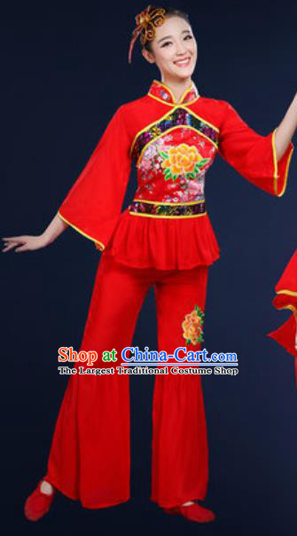 Traditional Chinese Fan Dance Embroidery Peony Red Clothing Folk Dance Yangko Stage Performance Costume for Women