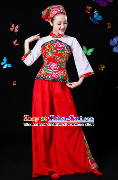 Traditional Chinese Yangko Red Clothing Folk Dance Fan Dance Stage Performance Costume for Women