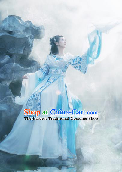 Traditional Chinese Tang Dynasty Imperial Consort Hanfu Dress Ancient Peri Princess Embroidered Costume for Women