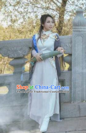 Traditional Chinese Cosplay Swordswoman White Hanfu Dress Ancient Heroine Embroidered Costume for Women