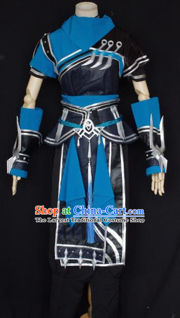 Traditional Chinese Cosplay Kawaler Blue Hanfu Clothing Ancient Swordsman Embroidered Costume for Men