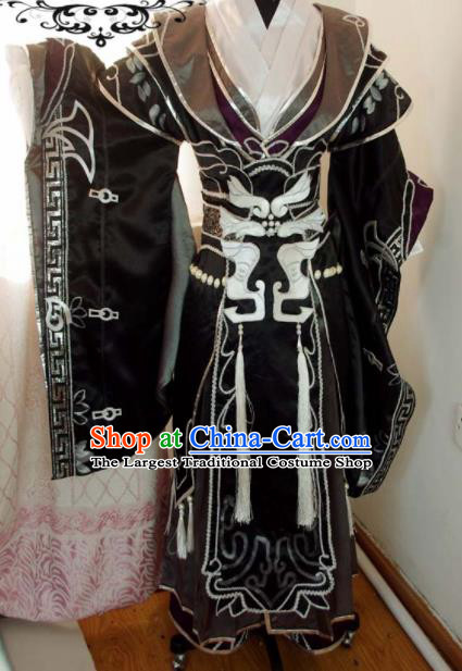 Traditional Chinese Cosplay Taoist Priest Knight Black Clothing Ancient Swordsman Embroidered Costume for Men
