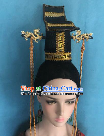 Traditional Chinese Qin Dynasty Crown Prince Hairdo Crown Hair Accessories Ancient Nobility Childe Hat for Men