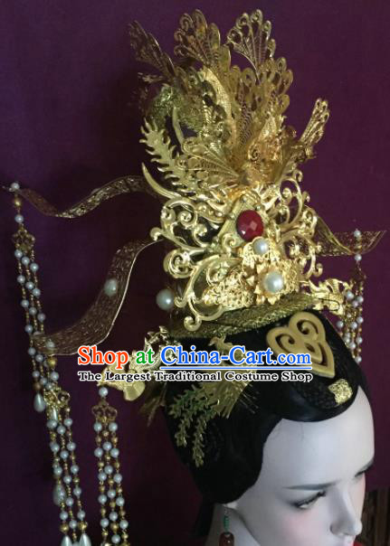 Traditional Chinese Tang Dynasty Queen Golden Phoenix Coronet Hairpins Handmade Ancient Palace Hair Accessories for Women