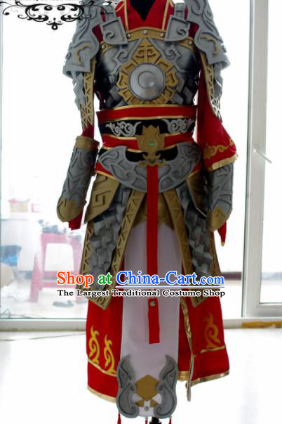 Traditional Chinese Cosplay Warrior Armour Clothing Ancient Swordsman Embroidered Costume for Men