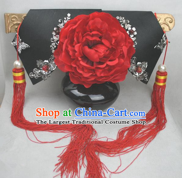 Traditional Chinese Qing Dynasty Princess Red Peony Headwear Ancient Palace Lady Hair Accessories for Women