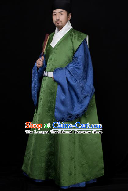 Chinese Ancient Minister Hanfu Robe Traditional Ming Dynasty Taoist Priest Embroidered Historical Costume for Men