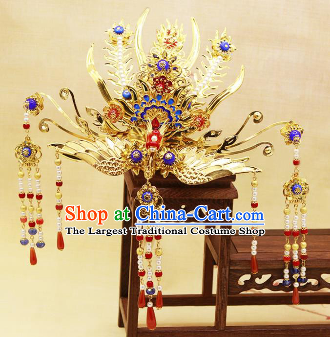 Traditional Chinese Handmade Agate Tassel Phoenix Coronet Hairpins Ancient Queen Hair Accessories for Women