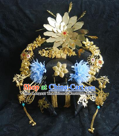 Traditional Chinese Handmade Tang Dynasty Imperial Consort Phoenix Coronet Hairpins Ancient Empress Hair Accessories for Women