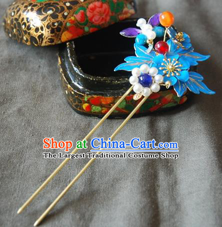 Traditional Chinese Handmade Ancient Qing Dynasty Imperial Consort Cloisonne Hairpins Headwear Hair Accessories for Women