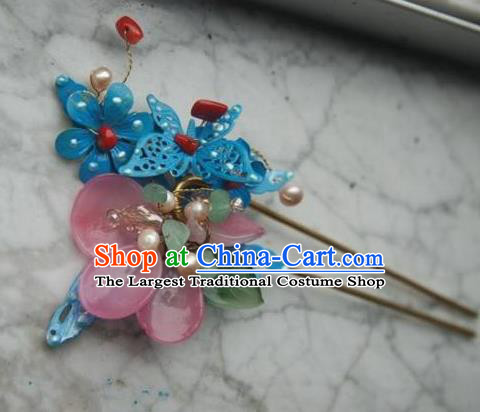 Handmade Chinese Ancient Princess Tassel Hairpins Blue Butterfly Lotus Hair Clip Headwear Hair Accessories for Women