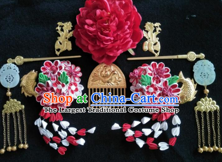 Traditional Chinese Handmade Ancient Tang Dynasty Imperial Consort Hairpins Hair Comb Headwear Hair Accessories for Women