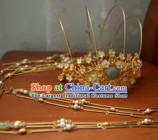 Chinese Handmade Hanfu Tassel Phoenix Coronet Hairpins Traditional Ancient Princess Hair Accessories for Women