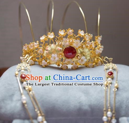 Chinese Handmade Hanfu Tassel Red Crystal Phoenix Coronet Hairpins Traditional Ancient Princess Hair Accessories for Women
