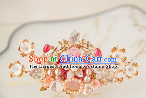Chinese Handmade Pink Peach Blossom Hair Crown Hairpins Traditional Ancient Princess Hair Accessories for Women