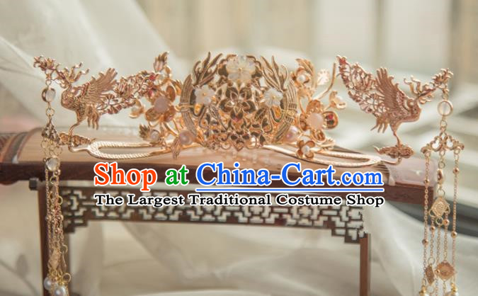 Chinese Handmade Hanfu Hairpins Tassel Phoenix Coronet Traditional Ancient Princess Hair Accessories for Women