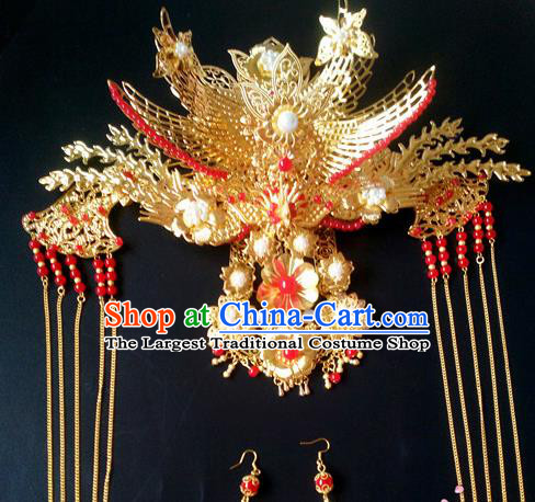 Chinese Handmade Hanfu Palace Golden Phoenix Coronet Tassel Hairpins Traditional Ancient Princess Hair Accessories for Women