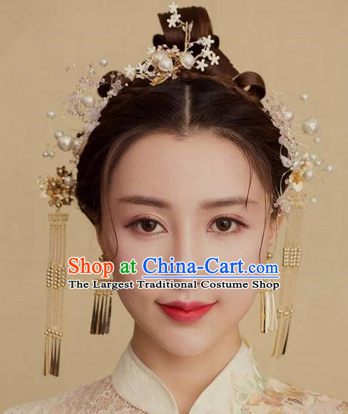 Traditional Chinese Wedding Handmade Hanfu Hairpins Ancient Tang Dynasty Imperial Consort Hair Accessories for Women